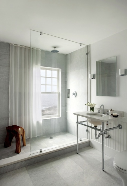 Shower Chair Rail Tiles Design Ideas