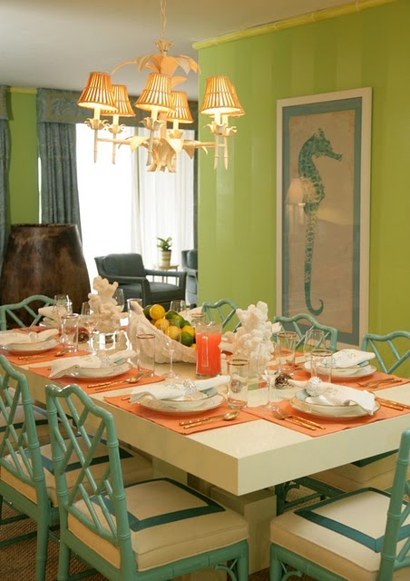 Teal bamboo chairs eclectic dining room lindsey for Dining room ideas teal