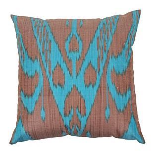 Botanical Ikat Pillow, Turquoise/Bark