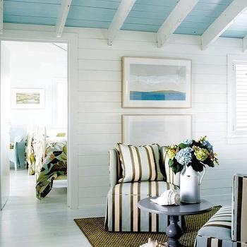 Turquoise Ceiling, Cottage, living room, Kathleen Hay Design
