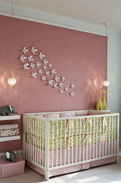 Wall Art For Nursery Ideas : White and pink wall stripes design ideas