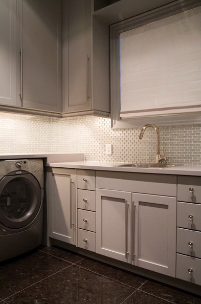 Gray Laundry Room Contemporary Laundry Room Toronto