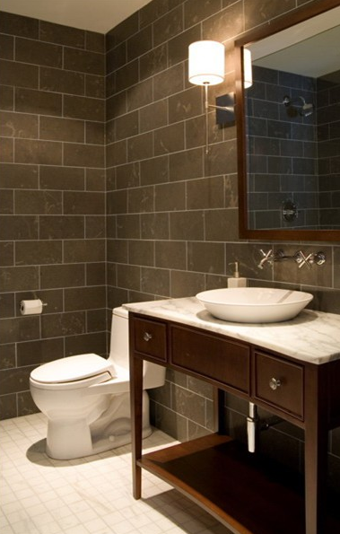 staggering wood wall tile. Modern bathroom with taupe stagger slate tiles walls  coffee stained wood single vanity washstand marble countertop round vessel sink Staggered Slate Tiles Design Ideas