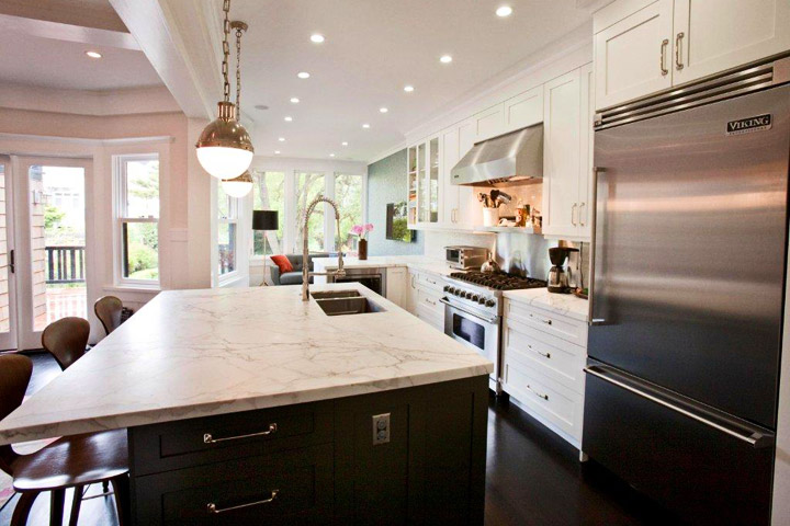 Honed Calcutta Marble Countertops Contemporary Kitchen