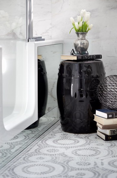 Gorgeous Bath Vignette With Glossy Black Garden Stool, Stacked Books,  Pewter Case With White Tulips And Mosaic Marble Tiles Floor.