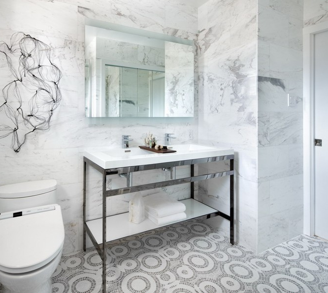 view full size stunning modern bathroom with mosaic marble tiles - White Marble Tile Bathroom