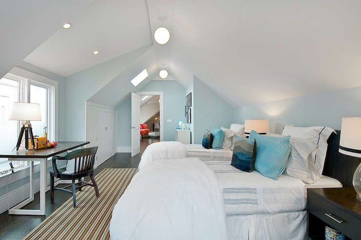 Attic bedroom design ideas for Boys room blue paint