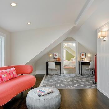 Coral Pink Sofa, Contemporary, girl's room, Benjamin Moore Apparition, Cardea Building Co.