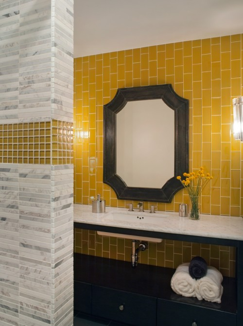 Yellow U0026 Gray Eclectic Bathroom With Gray Zinc Clipped Corners Mirror,  Yellow Glass Tiles Backsplash, Ebony Bathroom Vanity With Marble  Countertop, ... Part 59
