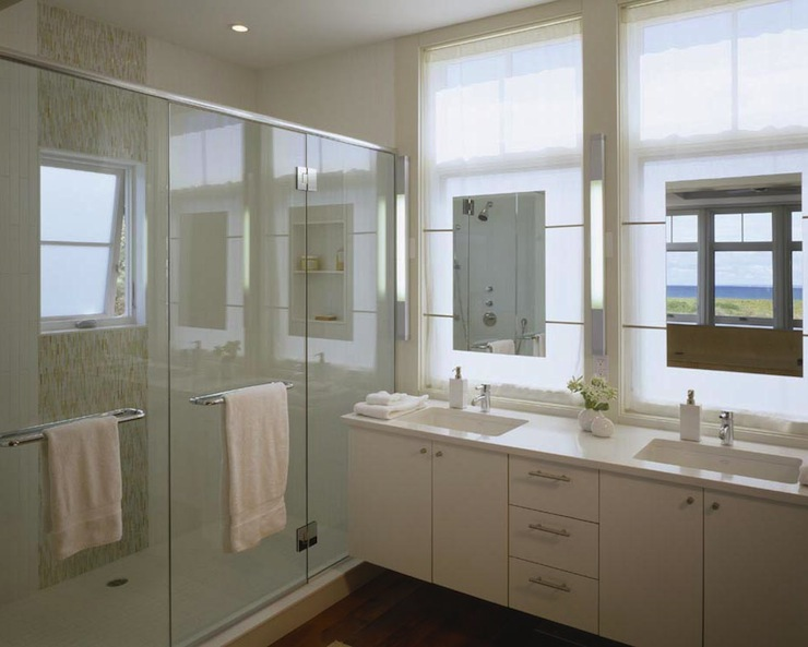 Mirrors In Front Of Windows Contemporary Bathroom