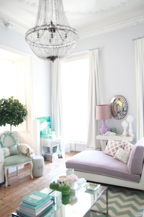 Chic Living Room With Soft Gray Walls Paint Color Crystal Chandelier Ivory Blue Chevron Rug Fiddle Leaf Fig Plant Turquoise Louis Chair