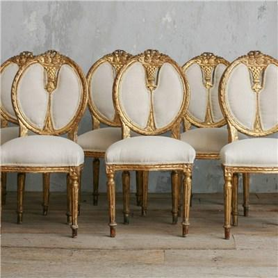 One Of A Kind Vintage Dining Chair Aged Gold Gilt Set Of 6