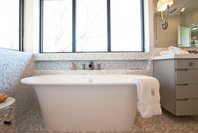 Mosaic Tiled Bathroom Floor - Transitional - kitchen - Cornerstone ...