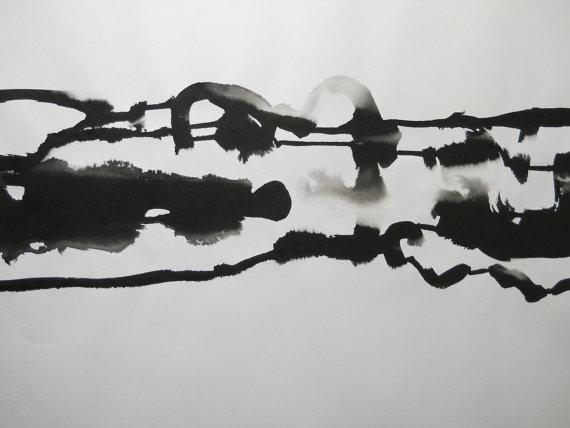 Original Black And White Abstract Ink Wash Painting By