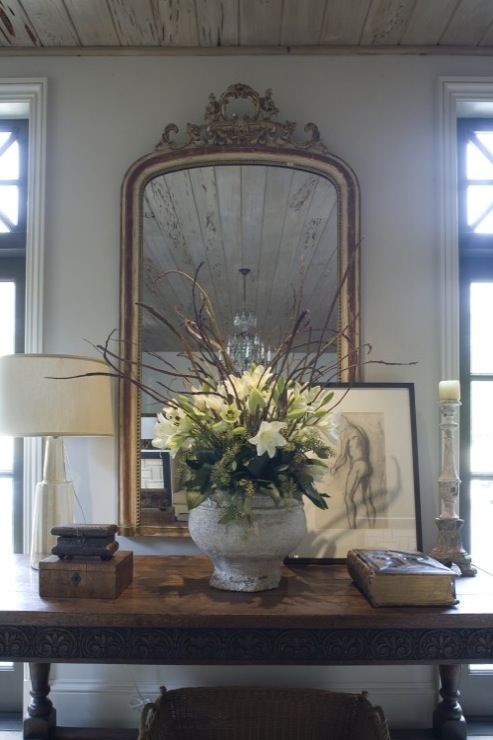 Foyer Table Vignettes : Waterfall console table transitional entrance foyer