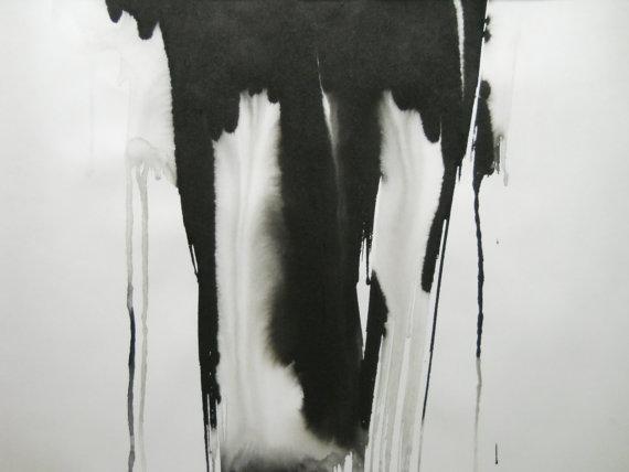 Black White Original Modern Abstract Ink by Manjuzaka