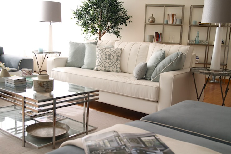 Glass Coffee Table Transitional Living Room Ana Antunes Grey White Blue  Living Room