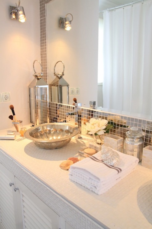 Mirrored Tile Backsplash Contemporary Bathroom Ana Antunes