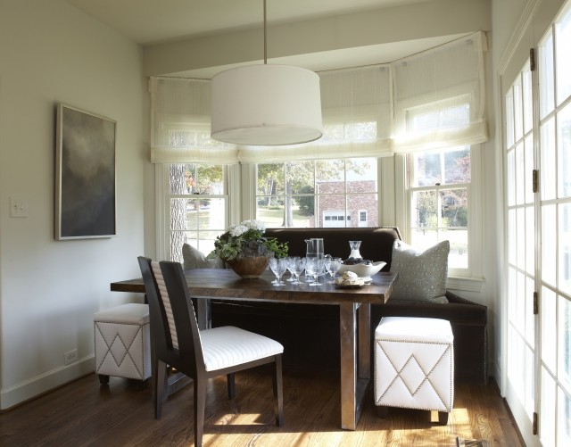 Lovely Dining Space With Bay Windows, Linen Roman Shades, Chocolate Brown  Velvet Banquette, Modern Wood Top Metal Rectangular Dining Table, Drum  Pendant ...