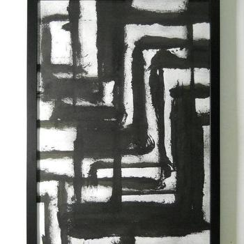 Black and White OOAK Contemporary Original Abstract by Manjuzaka