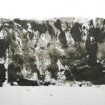 Black and White OOAK Original Modern Abstract Ink by Manjuzaka