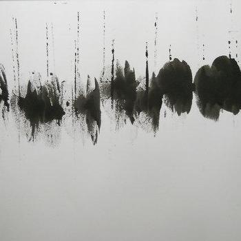 Minimal Black and White Modern Abstract Ink Painting by Manjuzaka