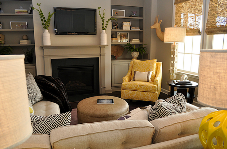 Yellow And Gray Living Room Transitional