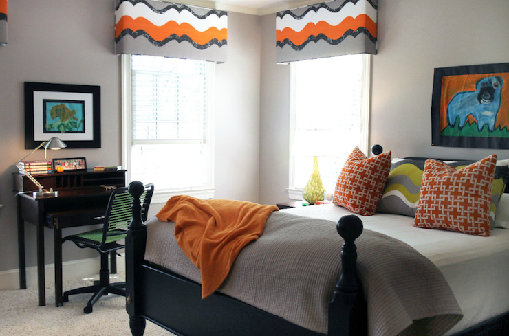 Gray And Orange Room Contemporary Living Room