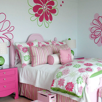 Pink and Green Girl's Bedding, Contemporary, girl's room, Lucy and Company