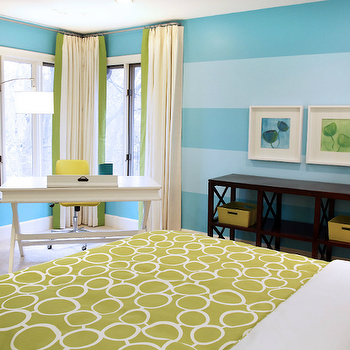 Turquoise Striped Walls, Contemporary, girl's room, Lucy and Company