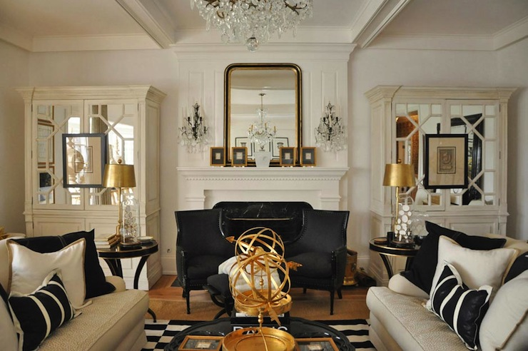 Mirrored armoire french living room megan winters for Gold and black living room ideas