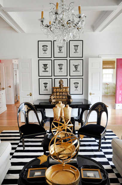 Black And White Striped Rug Eclectic Living Room Megan Winters
