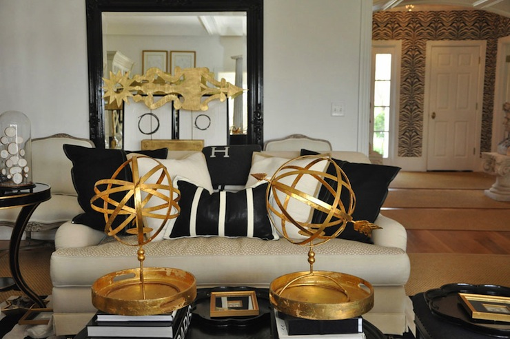 Gold and black living room eclectic living room megan winters for Black and gold living room ideas
