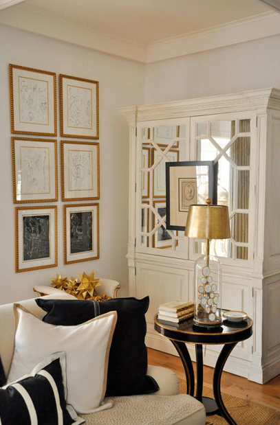 White mirrored armoire french living room megan winters Gold accessories for living room
