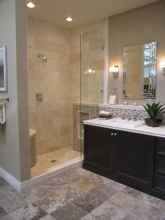 Travertine tile shower transitional bathroom for Travertine tile bathroom gallery