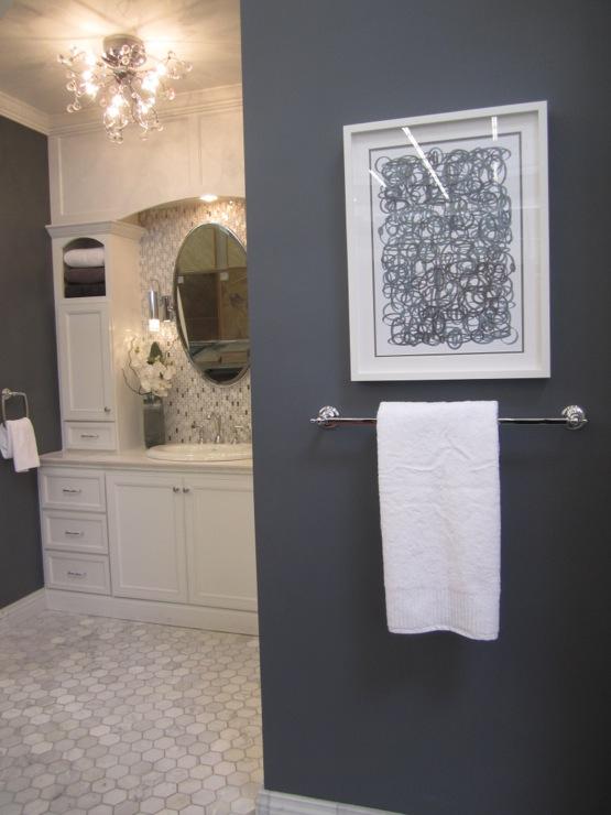 Marble Hex Tiled Floor, Transitional, bathroom, Sherwin Williams Gibralter