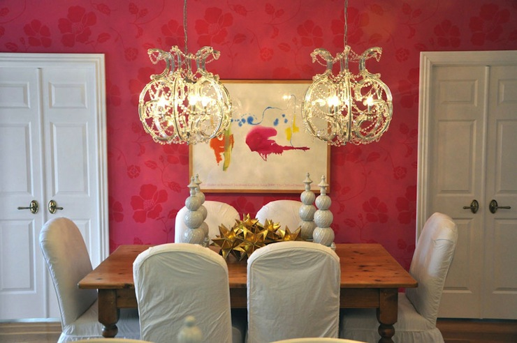 Pink Wallpaper Transitional Dining Room Megan Winters