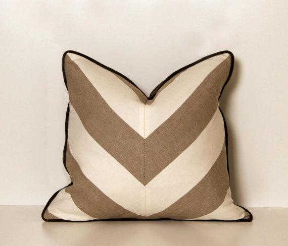 White Linen Throw Pillow : Linen Beige and White Chevron Throw Pillow by ccduexvie on Etsy