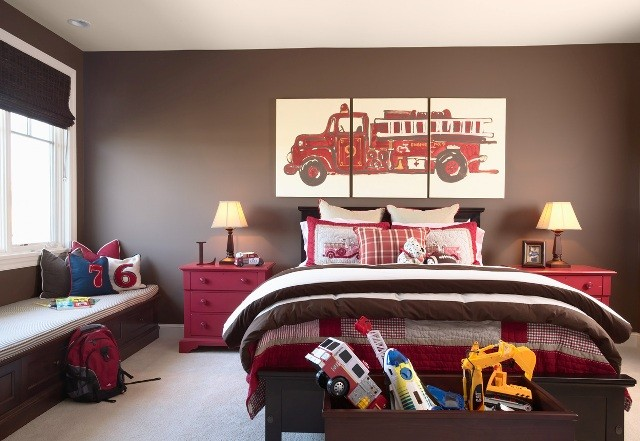 Brown walls traditional boy 39 s room benjamin moore for Fire truck bedroom ideas
