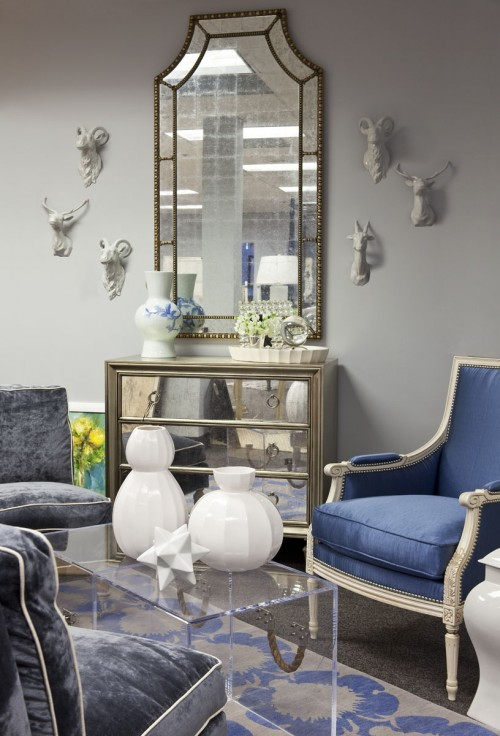 Blue Velvet Chair Contemporary Living Room Benjamin