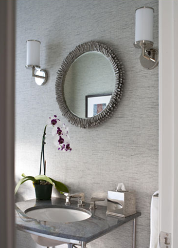 Gray bathroom contemporary bathroom elissa grayer design for Gray bathroom wallpaper