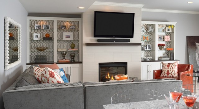 Built In Cabinets Contemporary Living Room Benjamin Moore Silver Chain Martha O 39 Hara