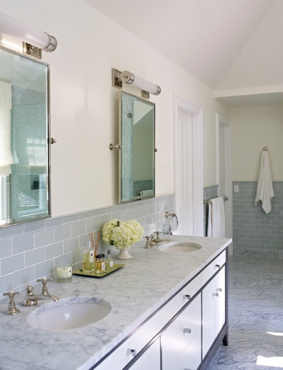 Gray Subway Tile Backsplash Transitional Bathroom