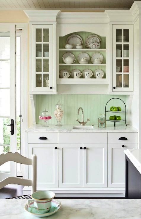 Sweet Butler S Pantry With Creamy White Cabinets Painted Benjamin Moore White Dove Pale Green Painted Beadboard Backsplash Marble Countertop