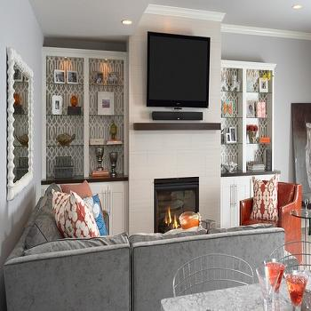 Built In Cabinets, Contemporary, living room, Benjamin Moore Silver Chain, Martha O'Hara Interiors