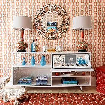 Chain Link Wallpaper, Contemporary, den/library/office, Mabley Handler