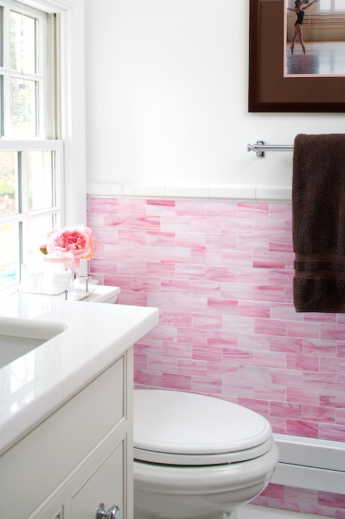 Brown subway tiles contemporary bathroom s r gambrel for Pink and brown bathroom ideas