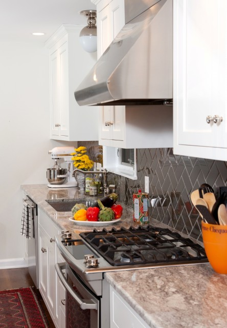 Pale Orange Kitchen pale gray shaker cabinets with glossy white glass backsplash tiles