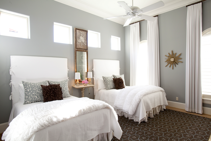 Twin Slipcovered Headboards Transitional bedroom