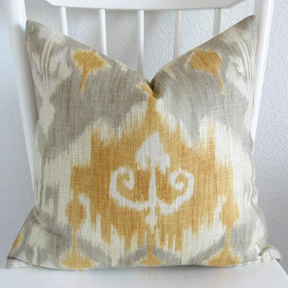 Decorative Gray White Ikat Accent Pillow
